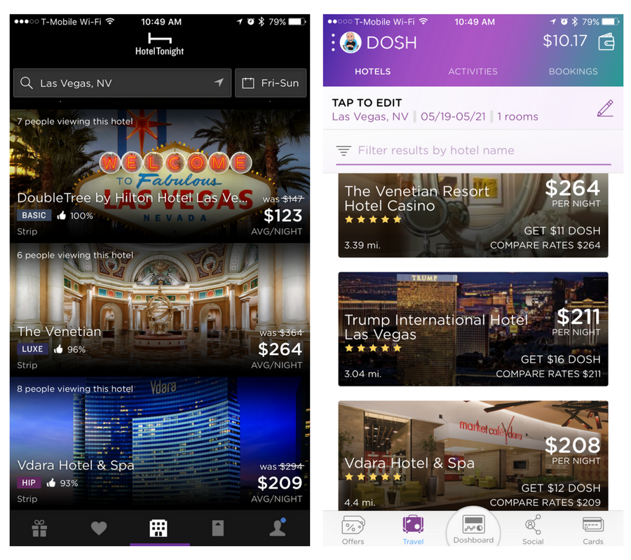 Dosh vs HotelTonight app