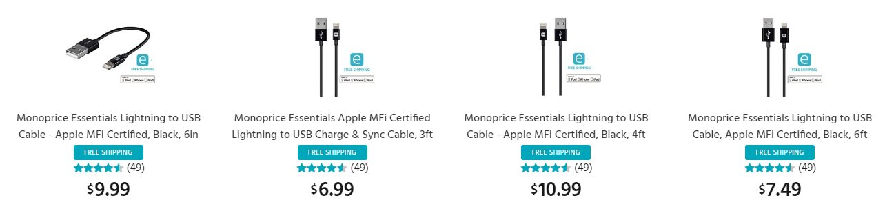 Monoprice Essentials Lightning to USB Cables