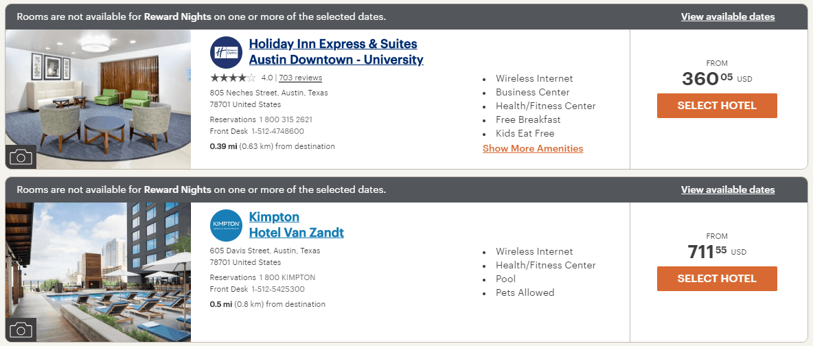 Kimpton Hotel Van Zandt April 2019 no reward nights available