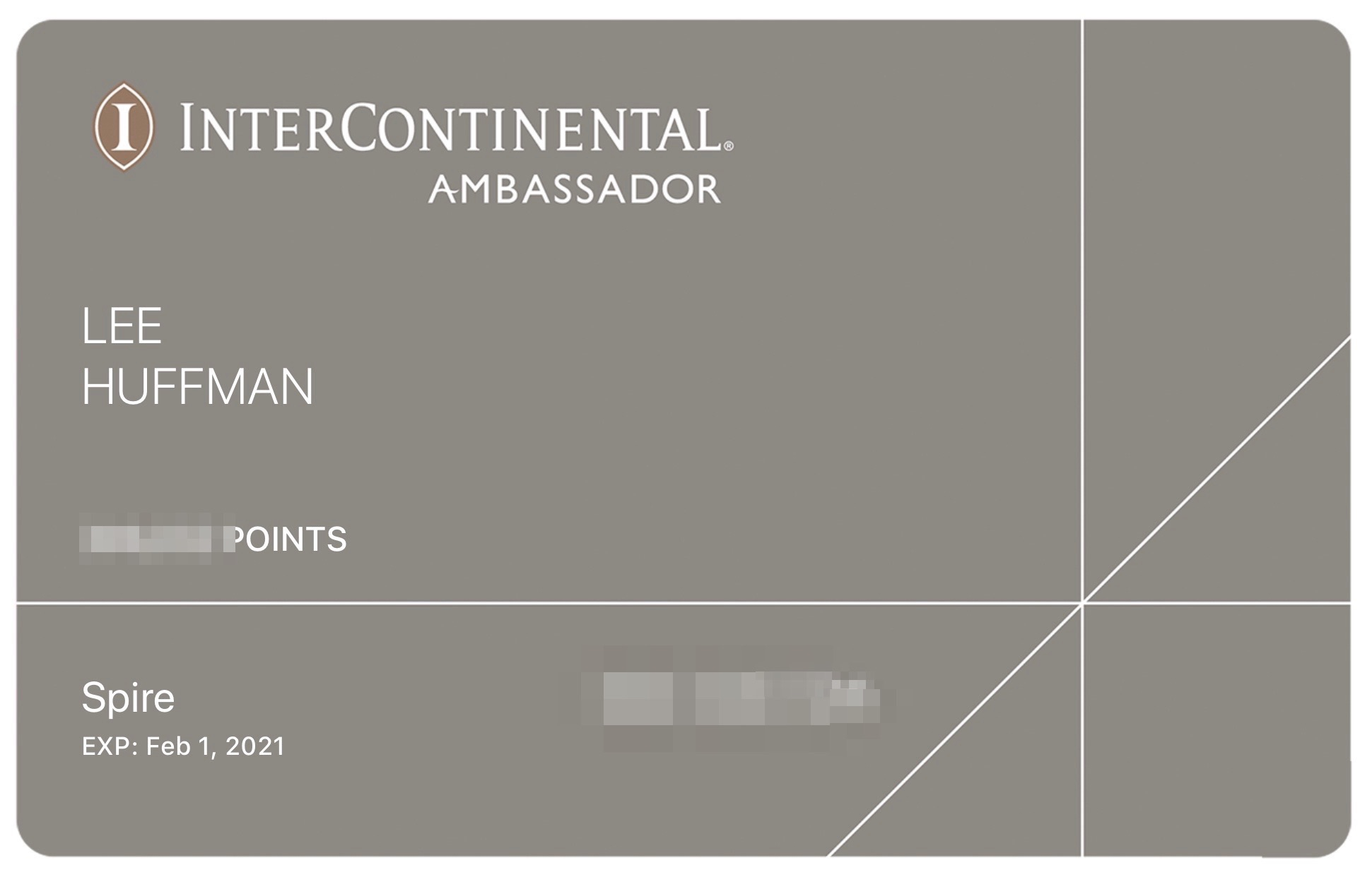 IHG Ambassador membership card expires 2021