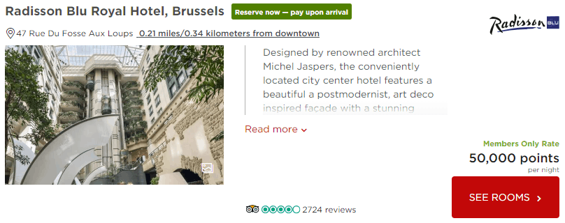 Radisson Blu Royal Hotel Brussels Oct 26-28 two people