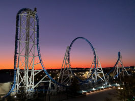 The Park at OWA Rollin' Thunder roller coaster